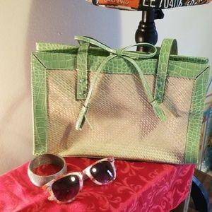 Liz Claiborne straw accordion-style purse